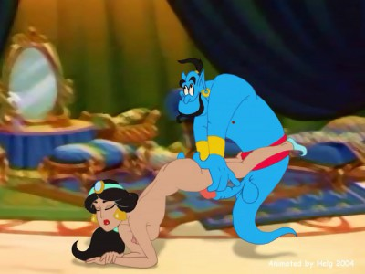 Jasmine drilled by Genie from behind